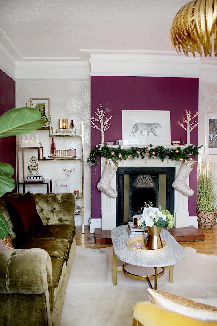 Christmas living room fireplace decor