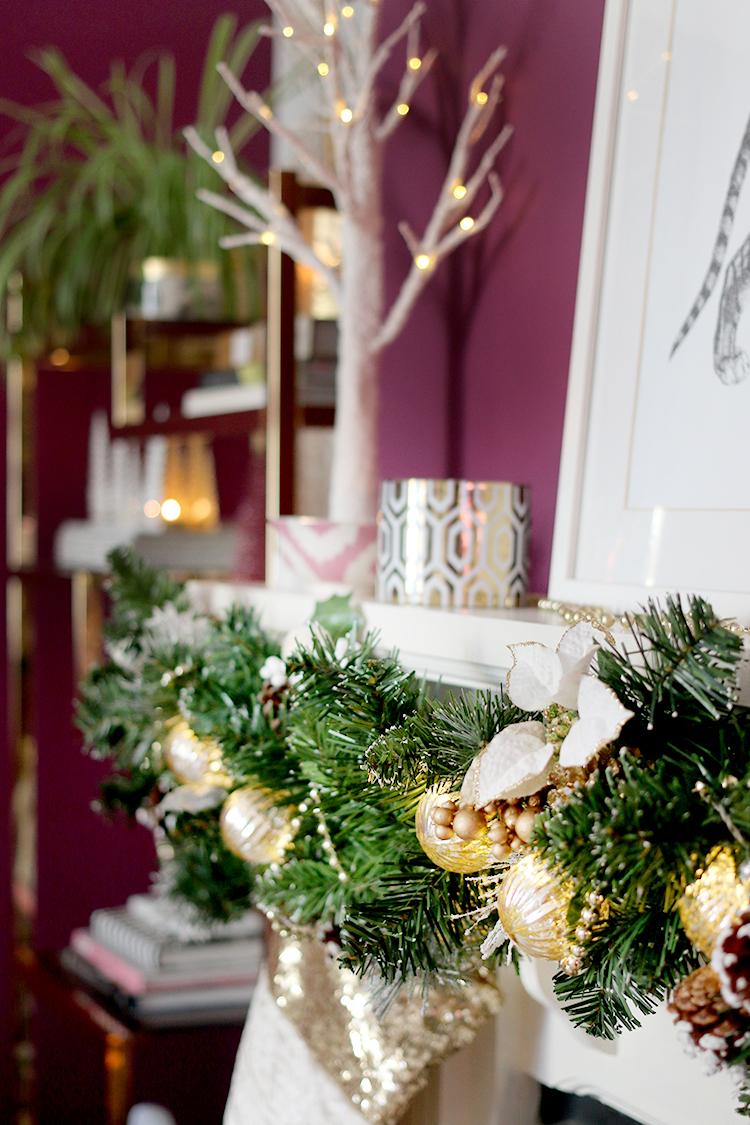 Christmas mantle decor detail