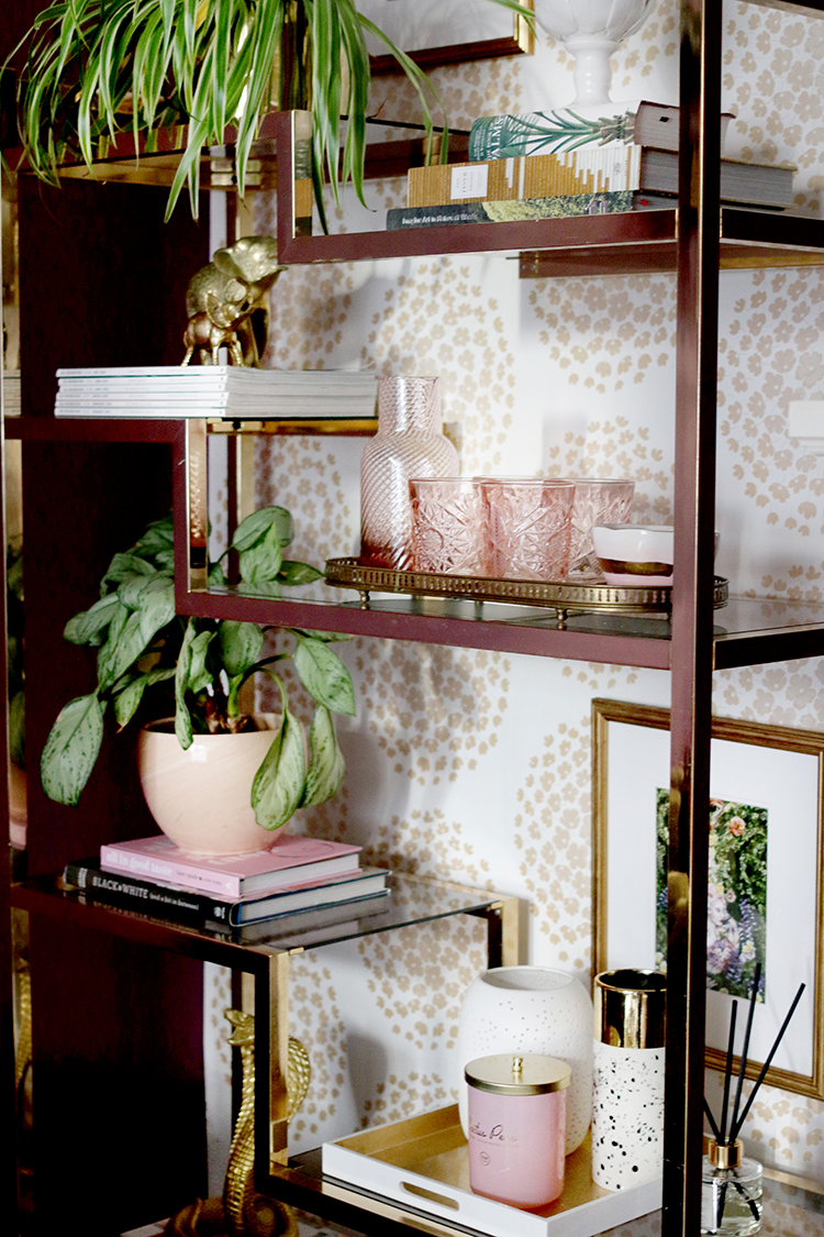 gold and brass vintage shelf styling