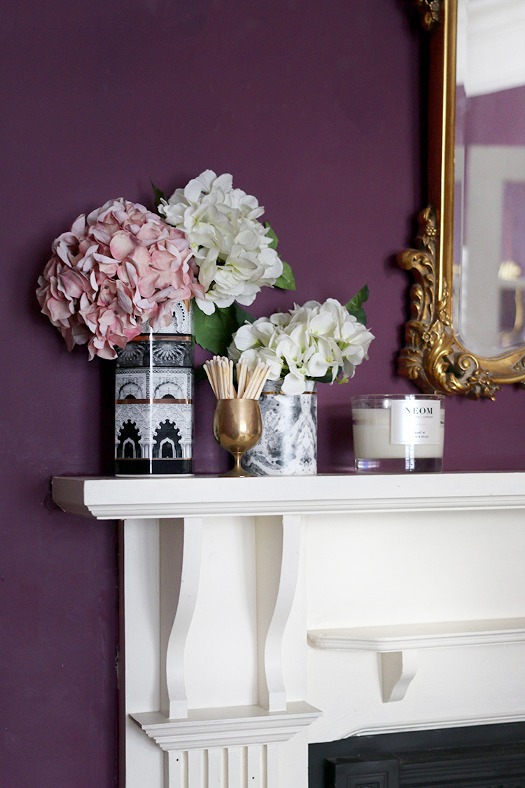 fireplace mantle styling with faux hydrangea