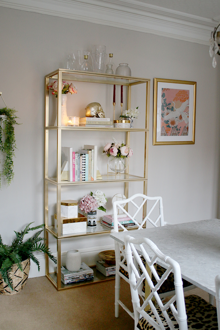 Gold shelving unit with DIY Storage Boxes