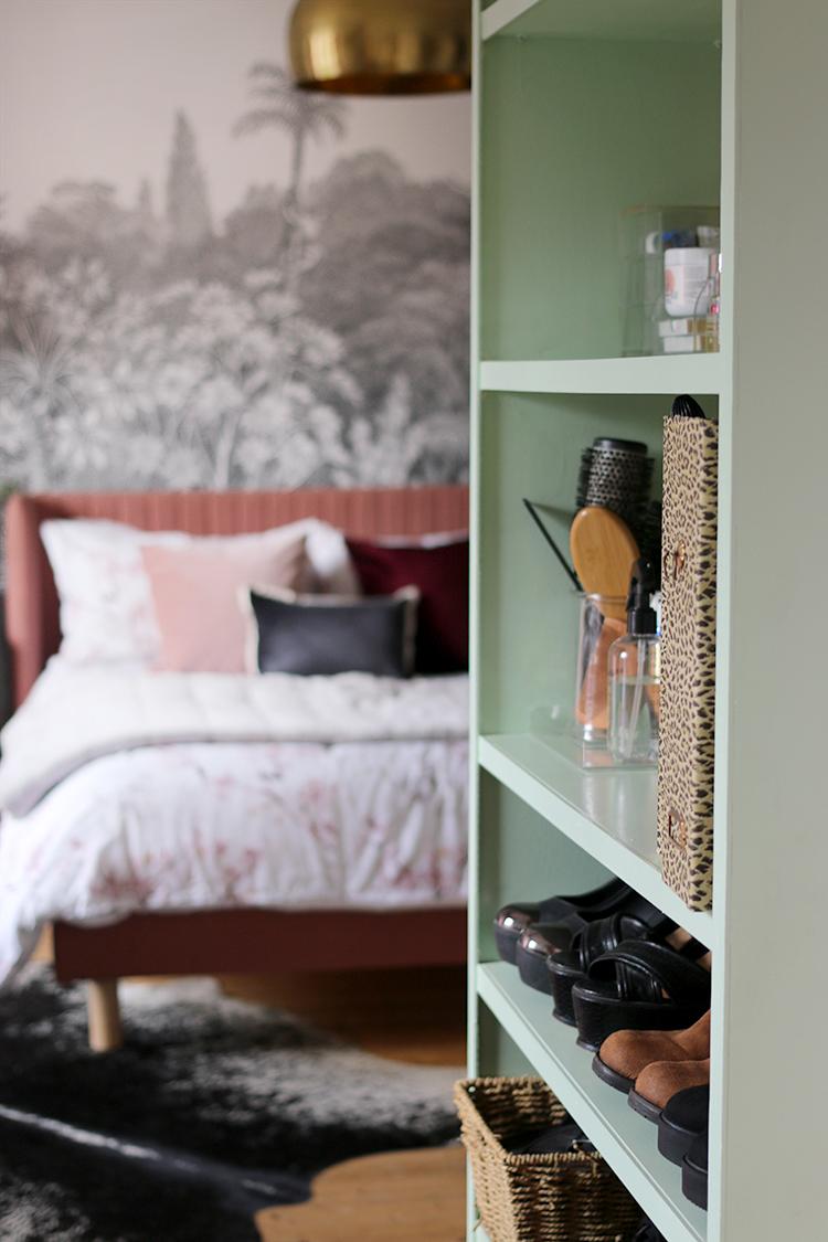 storage in dressing room - shelves looking into bedroom
