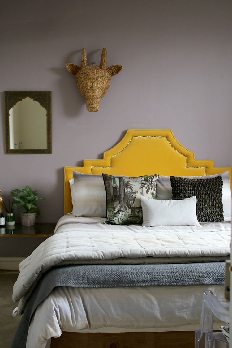 guest bedroom styling grey yellow and green