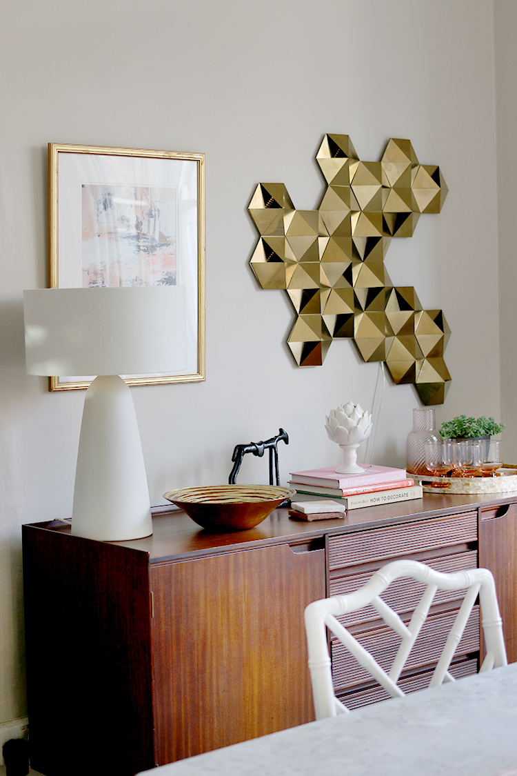 mid-century sideboard with contemporary lighting