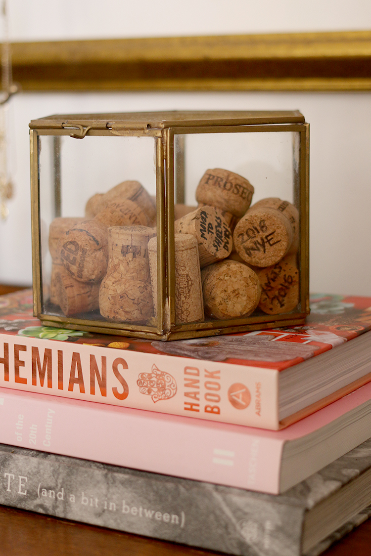 Keepsakes Corks with Dates - Styling a Bedroom Chest of Drawers