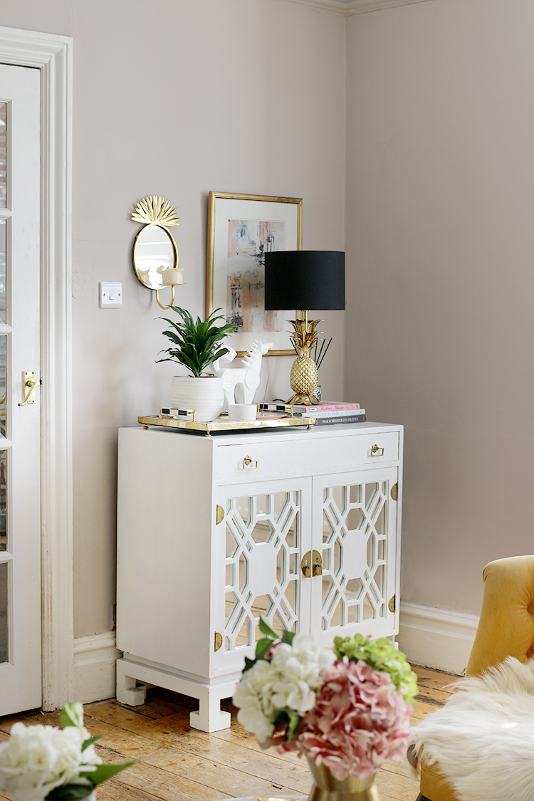 vintage cabinet in white boho glam