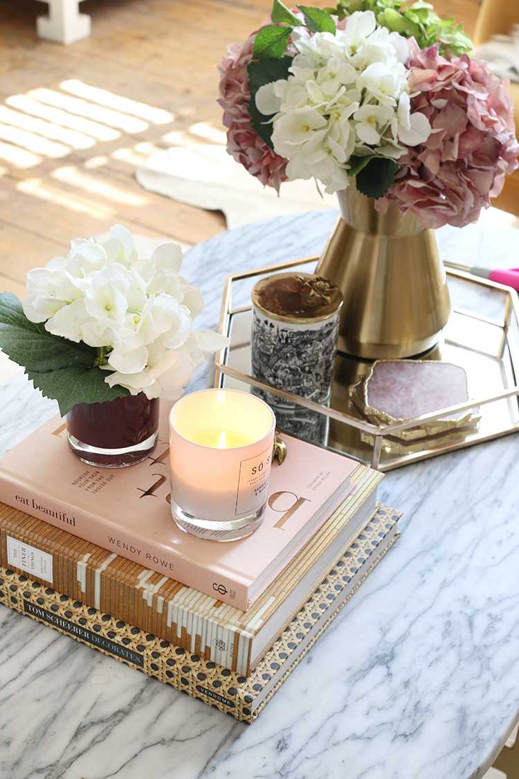Styled coffee table with candle