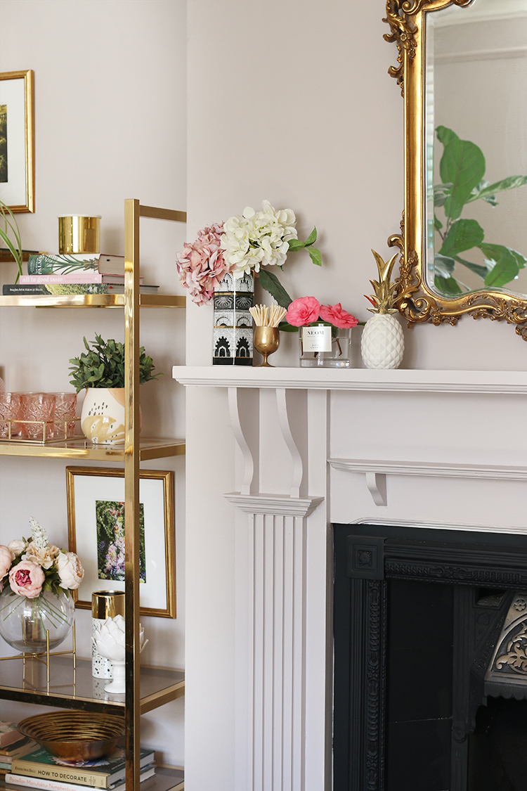 Styled mantle with flowers