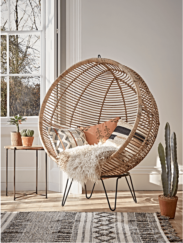 Round Rattan Cocoon Chair from Cox & Cox