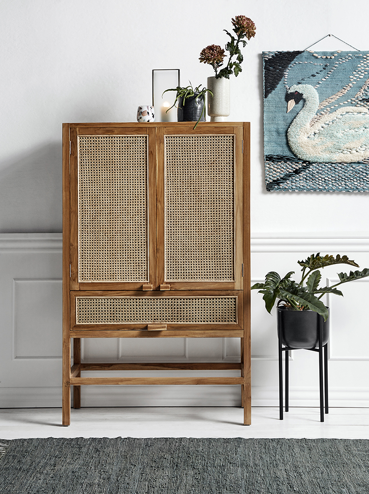 Teak Cabinet With Woven Cane Doors