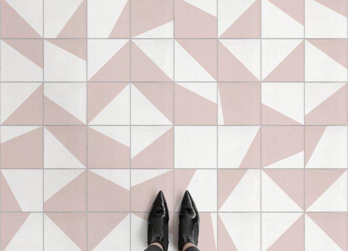 Atrafloor Zoe pink cement tile vinyl flooring