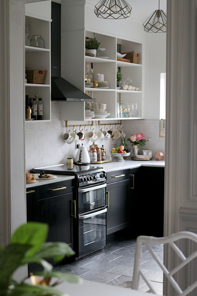 black white and gold kitchen
