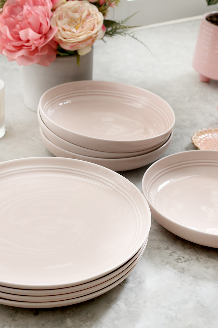 Pink dinner plates and bowls from M&S
