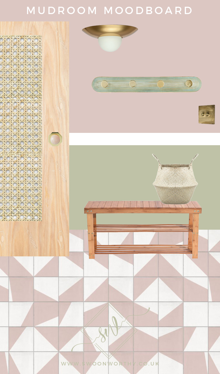 Mudroom Moodboard in pink green and gold