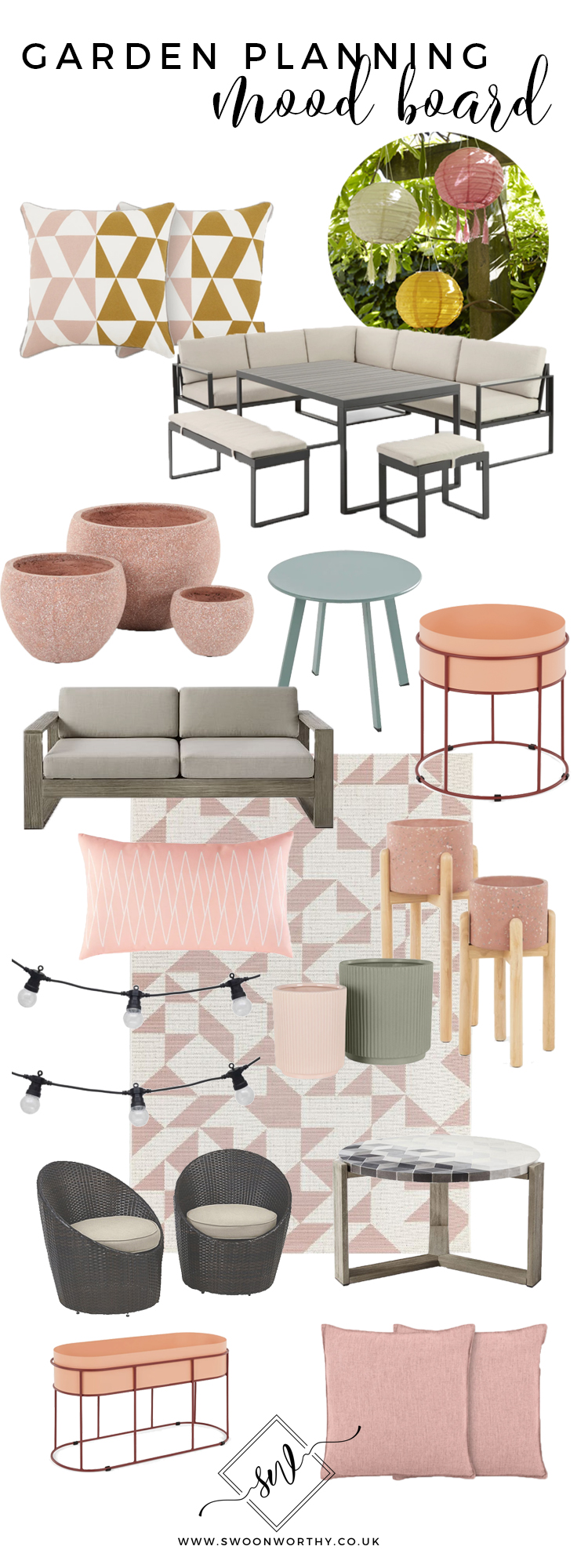 Garden Planning Mood board in peach and pinks