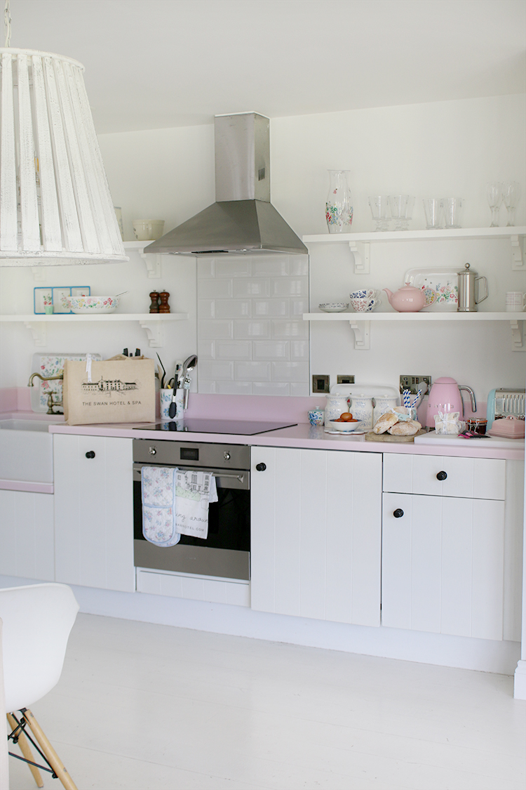 Swan Hotel Nest Kitchen in pink and white