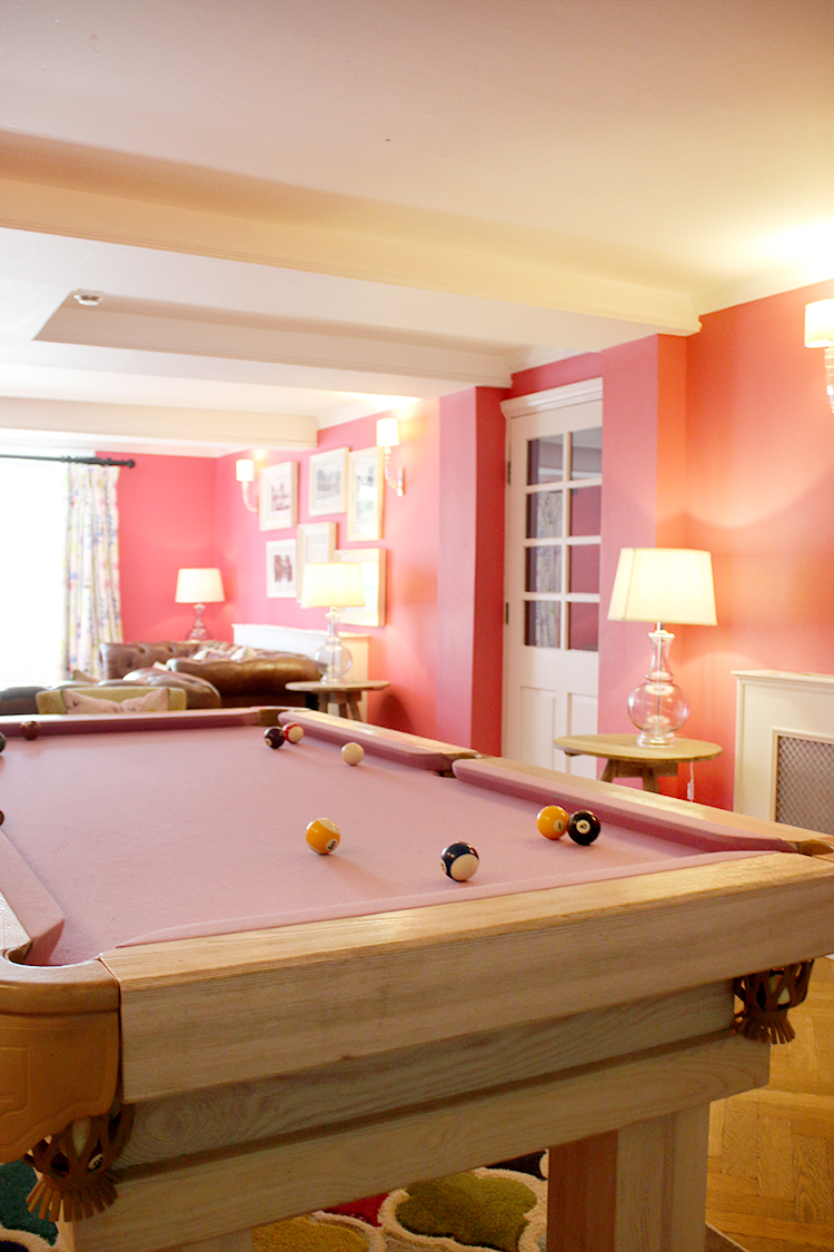 Pink pool table at Swan Hotel