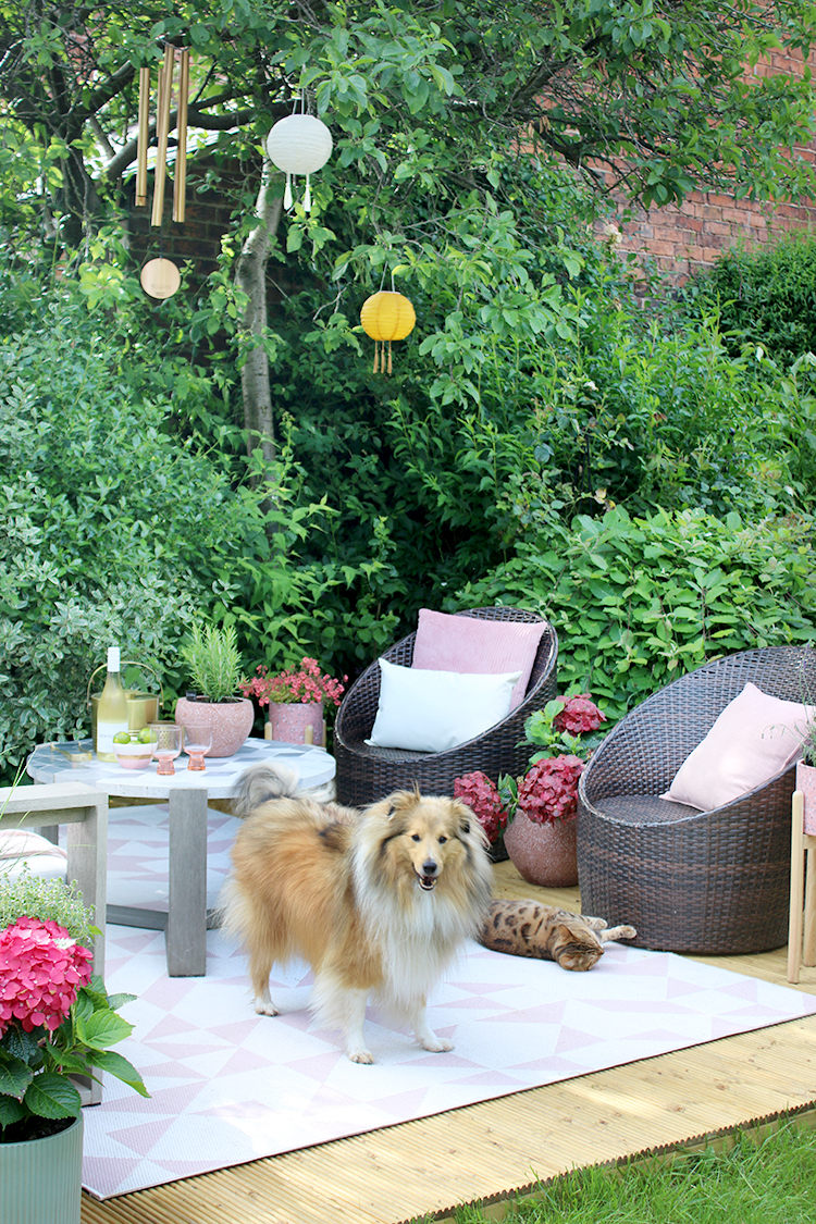 outside living area with decking, chairs and pets with pink accents