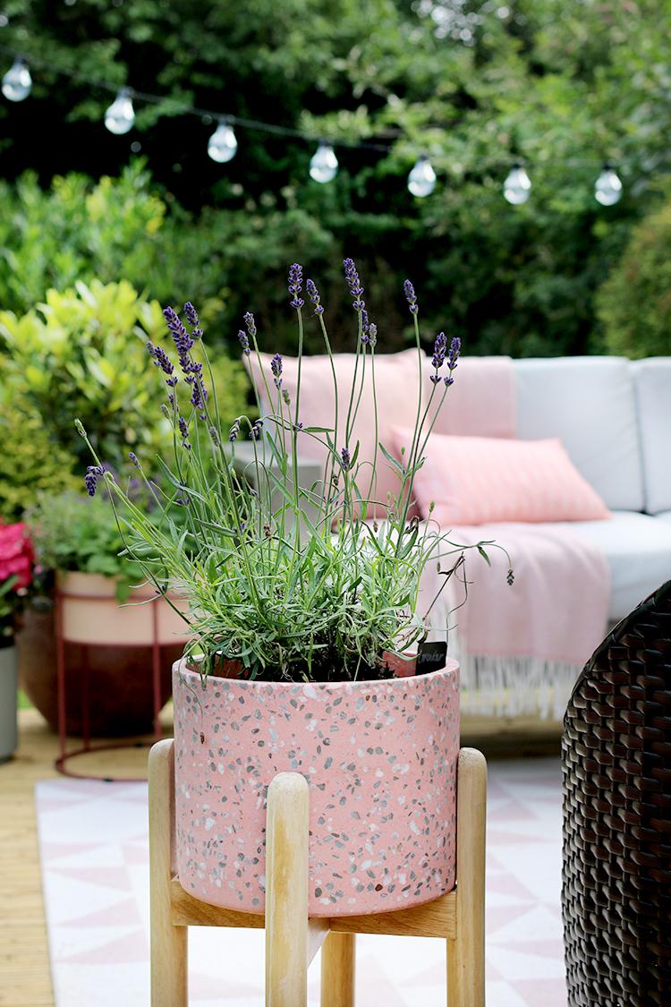 pink terrazzo raised planter