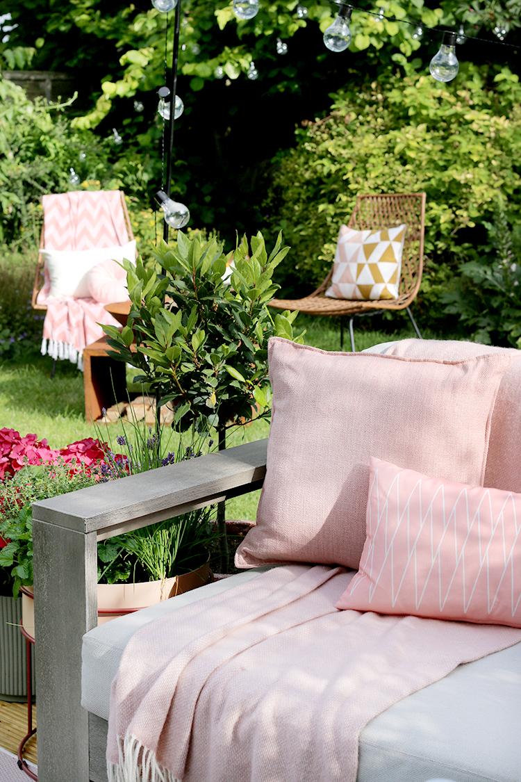 back garden makeover in pink detail shot