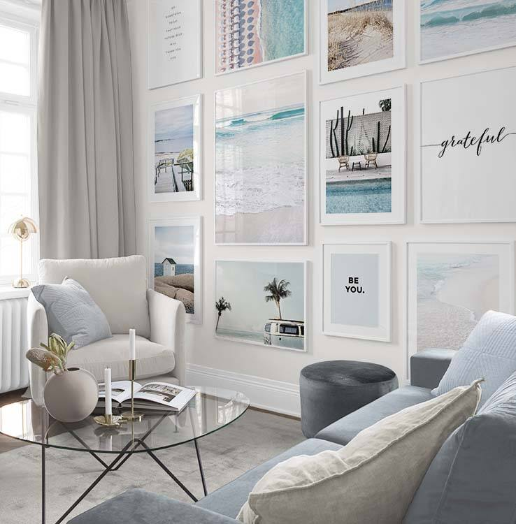 Gallery wall with seating- how to decorate according to your star sign - Cancer