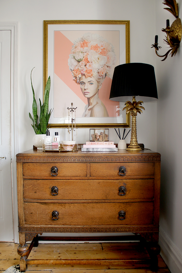 Introducing Finishing Touch Styling Service - vintage chest of drawers with pink and gold accents