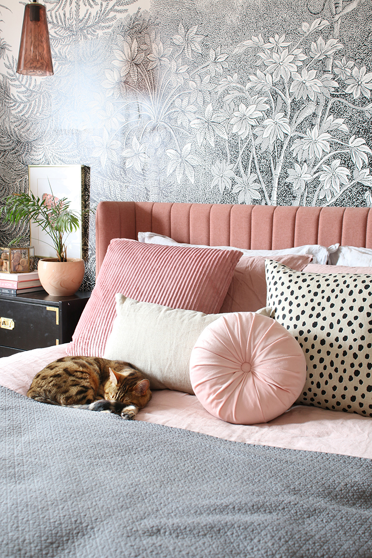 Introducing my Finishing Touches Styling Service - bed with black and white wall mural and pink bed with cat sleeping on bed