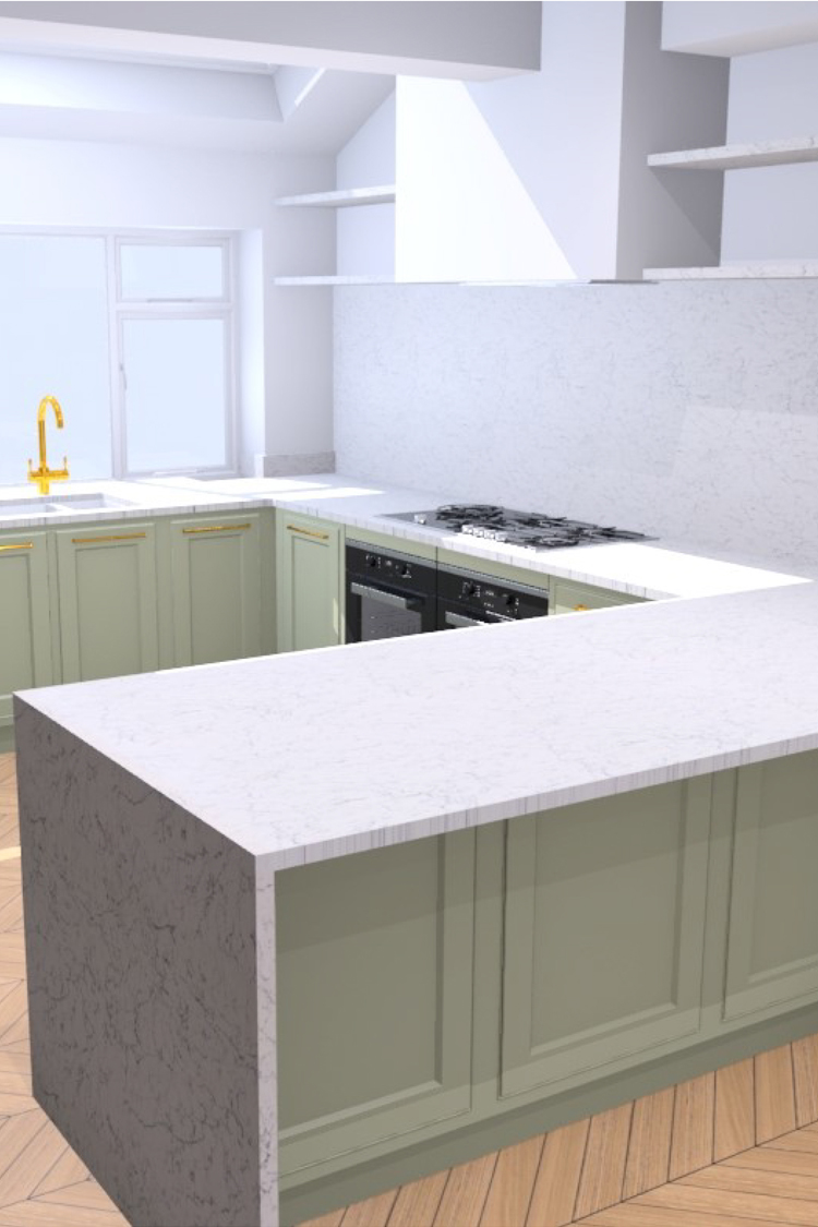 kitchen design CAD drawings breakfast bar