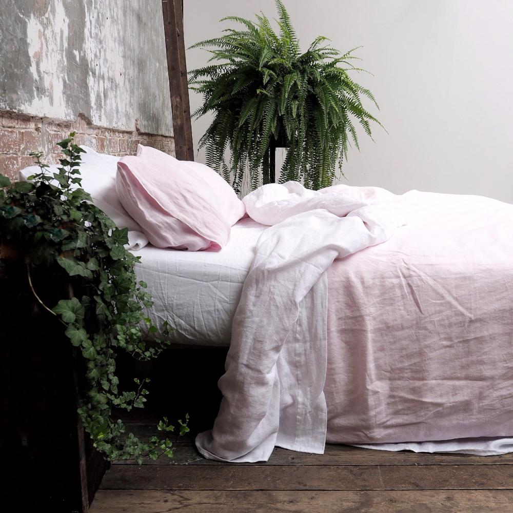 pink linen bedding from Piglet in Bed