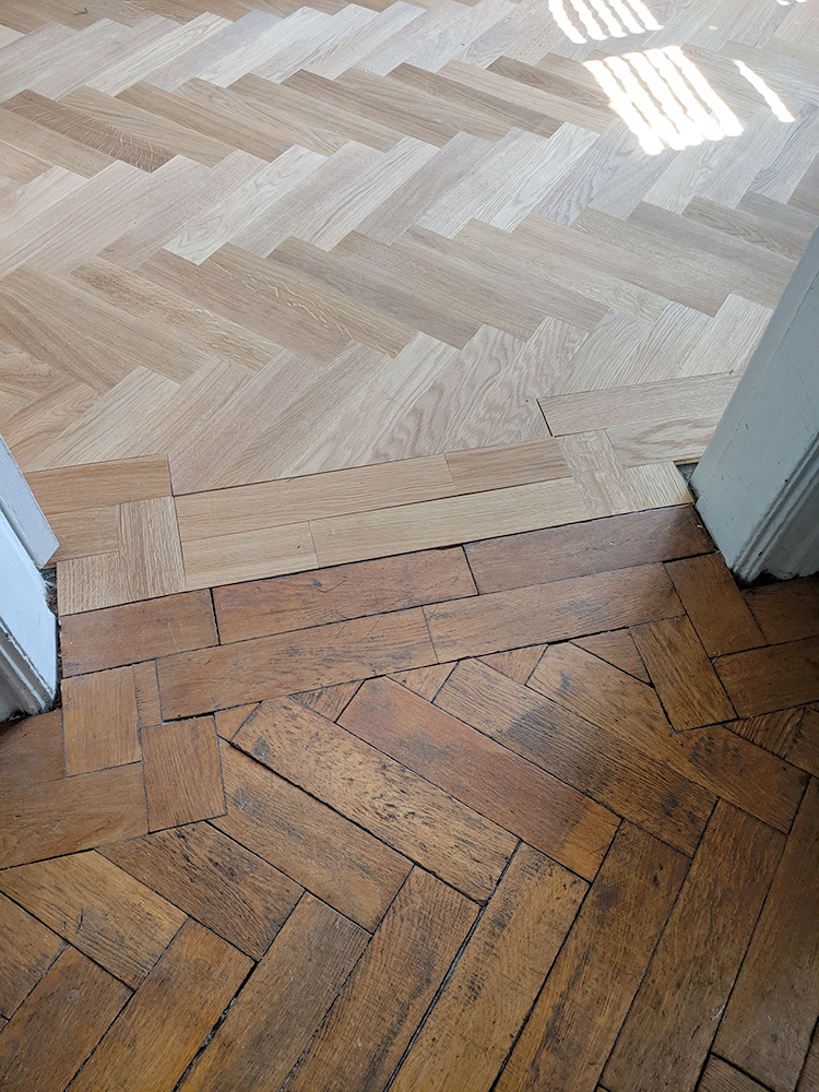 Laying parquet flooring next to existing parquet flooring
