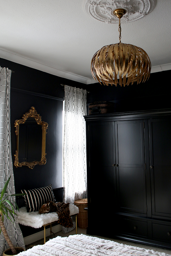 black wardrobes in bedroom