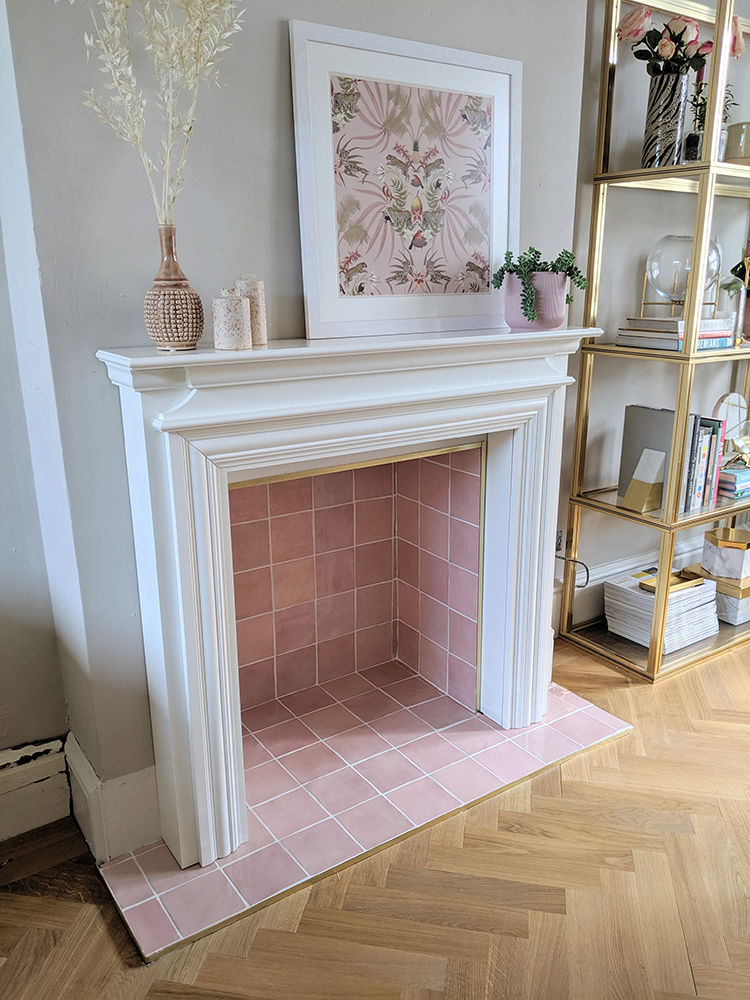 Non-working fireplace makeover with pink tiles
