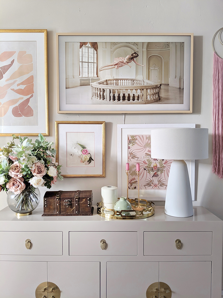 dining room sideboard with gallery wall and Frame TV in pink and taupe