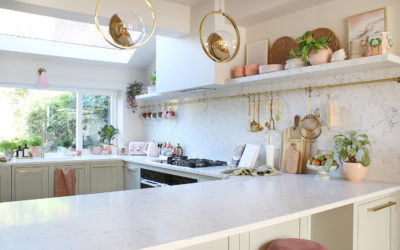 Renovation Complete: The Reveal of Our Green Pink and Gold Kitchen