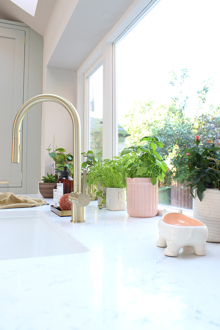 kitchen worktops in Caesarstone Whtie Attica with gold sink and plants