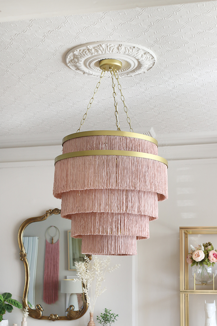 Aloha Fringe Light Fixture from Anthropologie in dining room