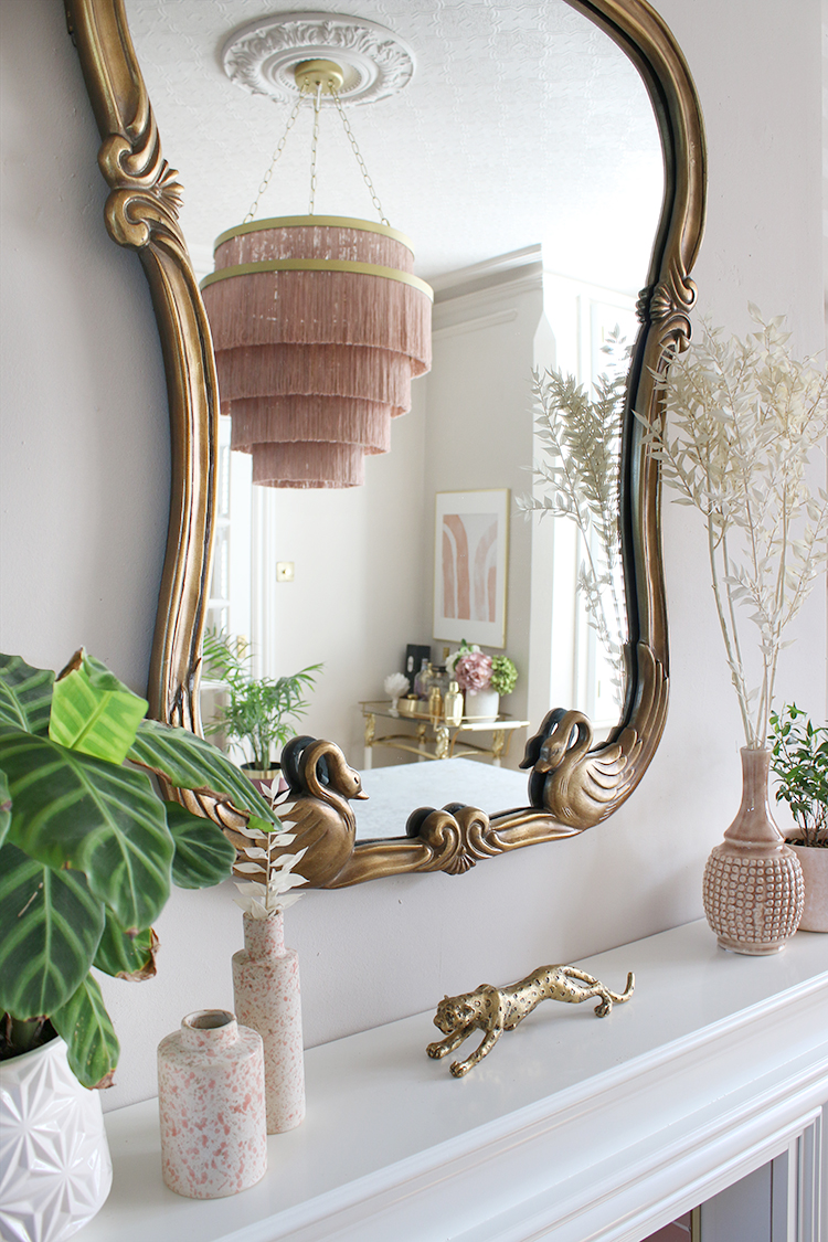 Anthropologie mirror and light fixture - mantle styling
