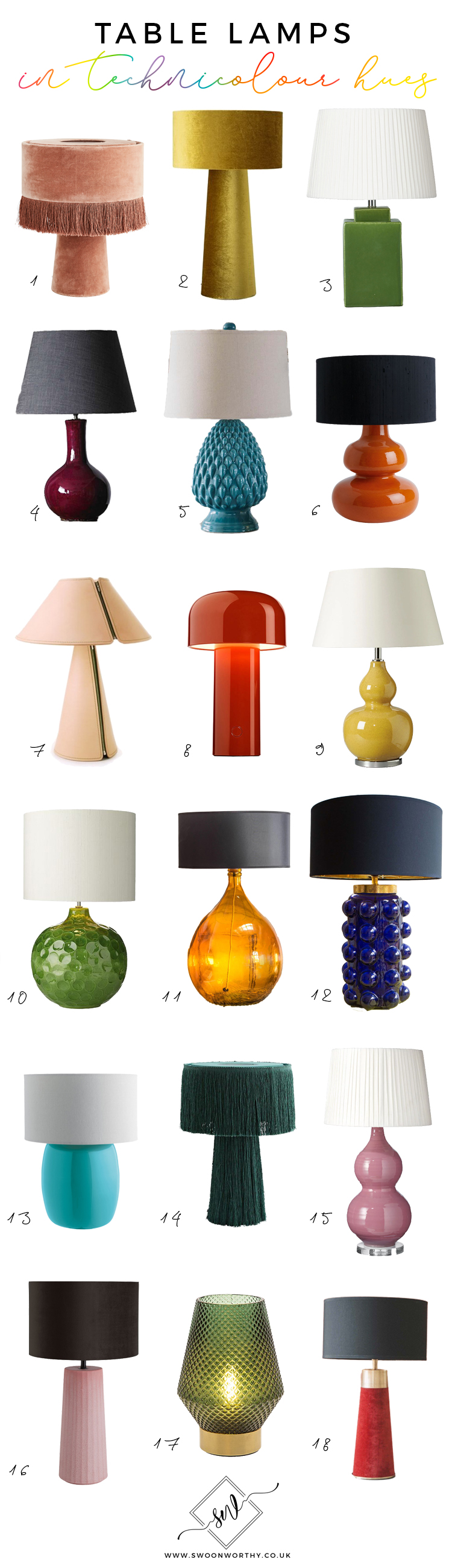 Colourful Table Lamp Roundup