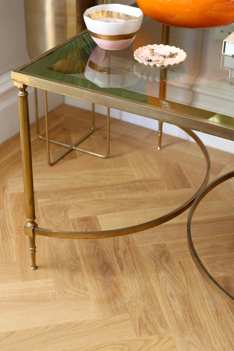 vintage glass and brass table