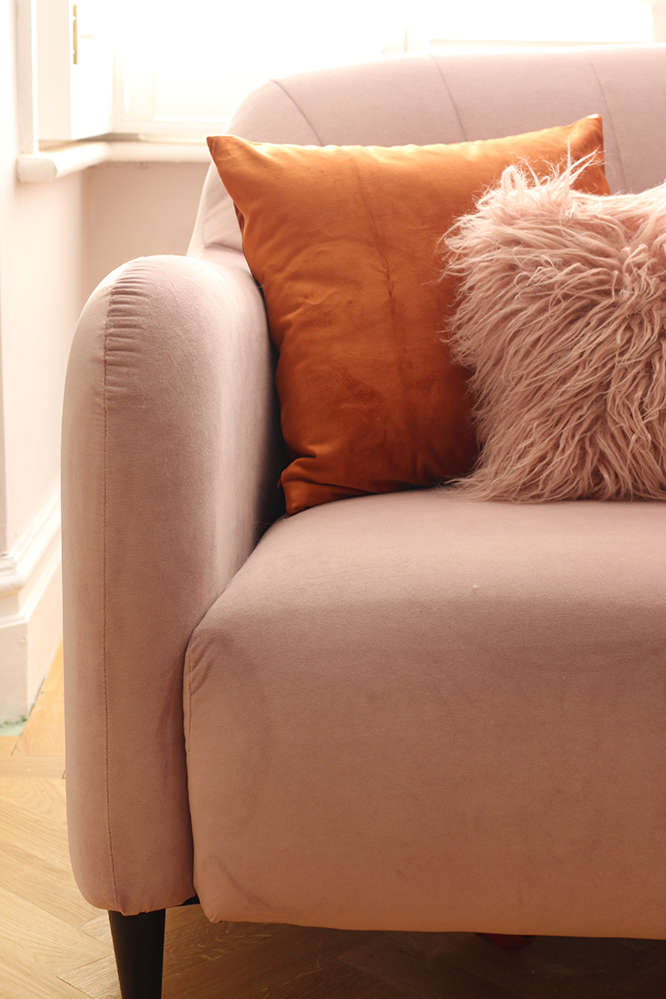 close up of pink aquaclean sofa