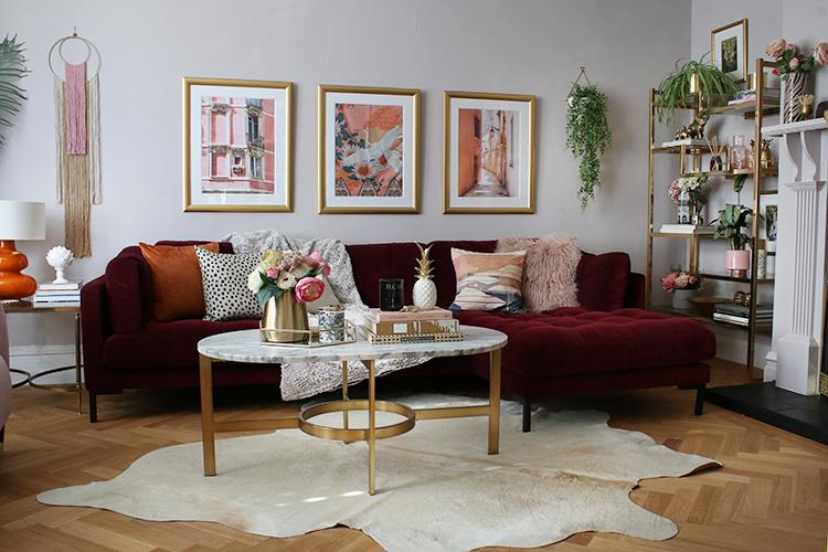 burgundy velvet sofa