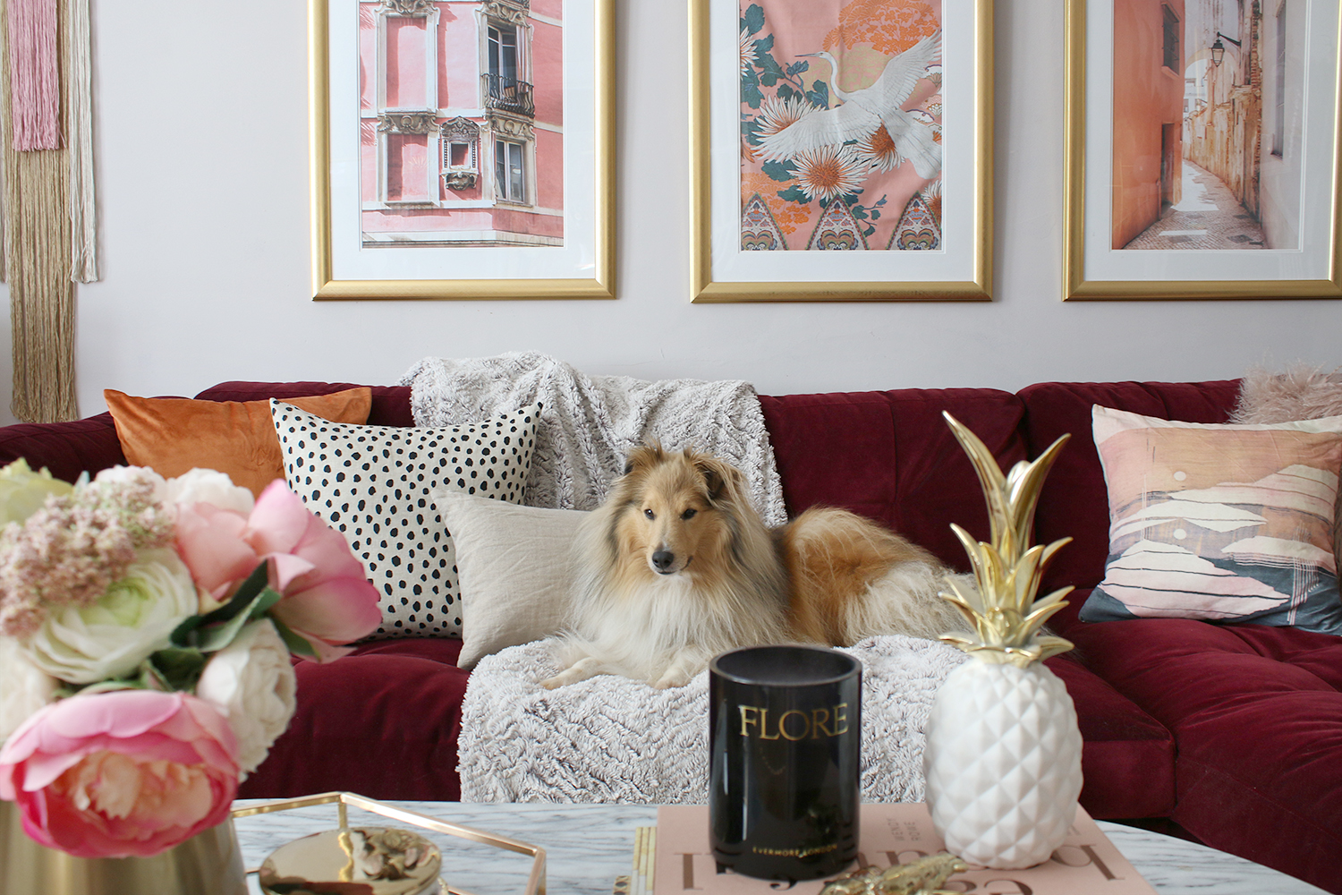 dog on burgundy sofa in glam living room with accents of blush and rust