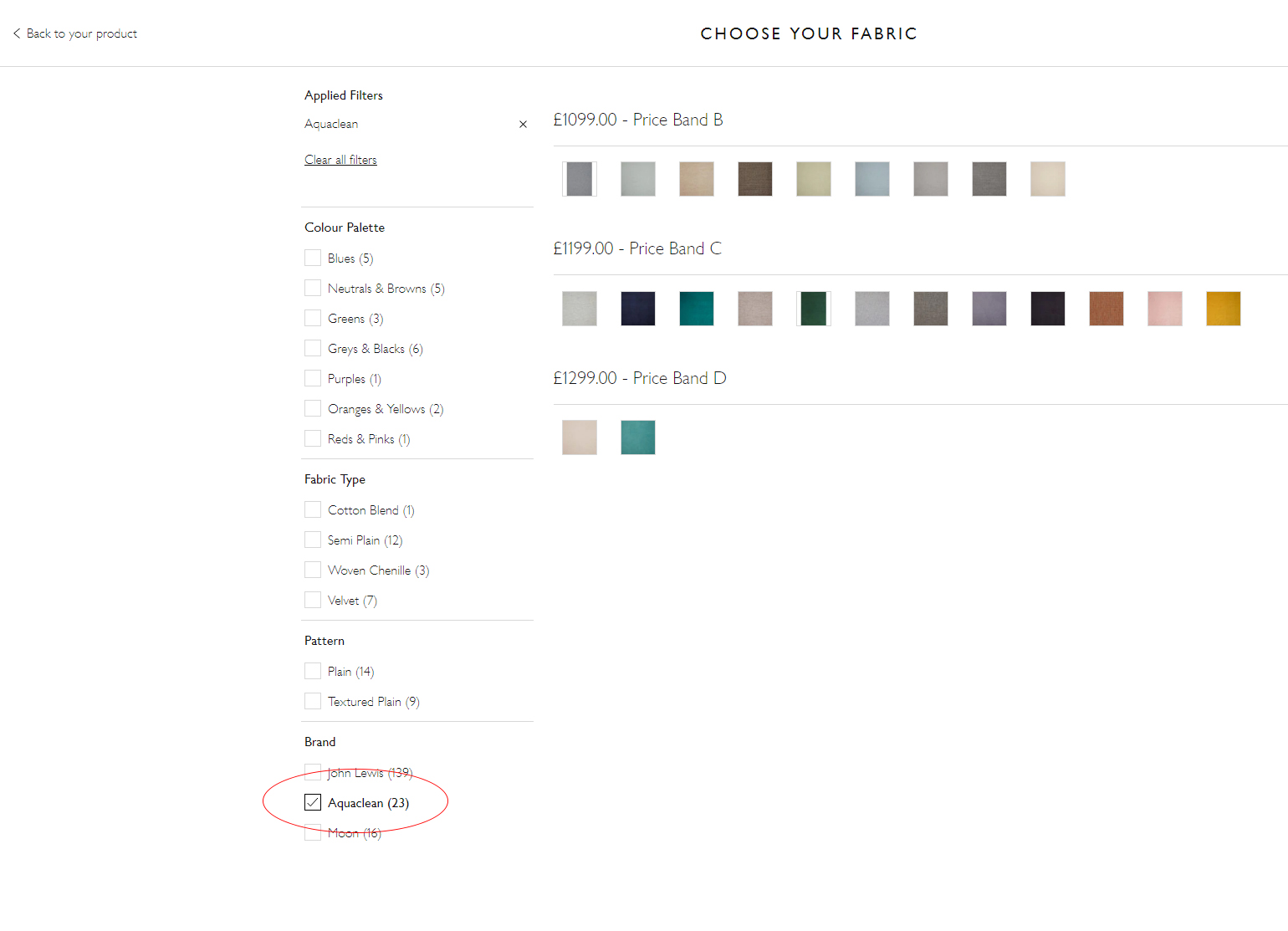 Fabric selection on John Lewis website