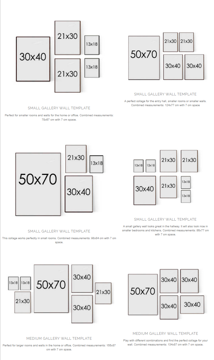 Gallery Wall layout options from Desenio