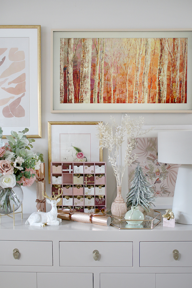 Christmas console table styling