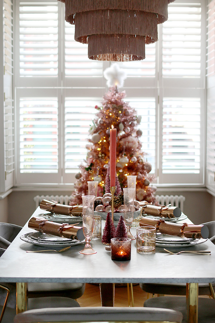 pink tree in dining room