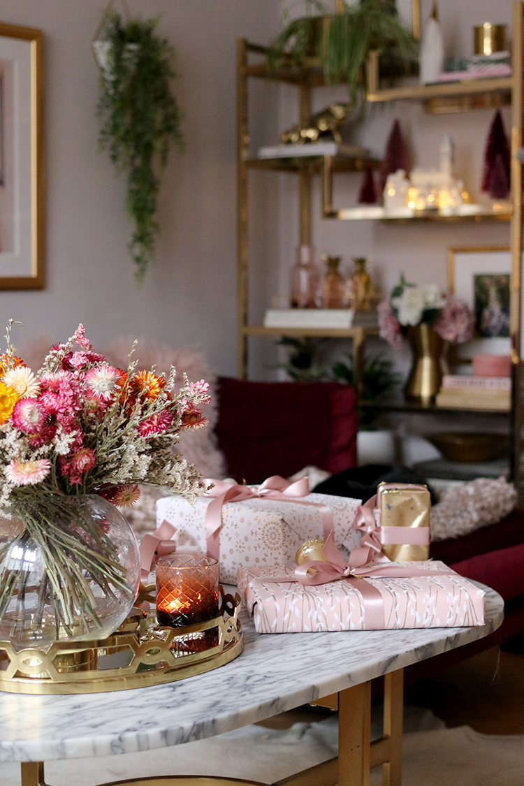 Christmas coffee table styling with pink wrapped presents