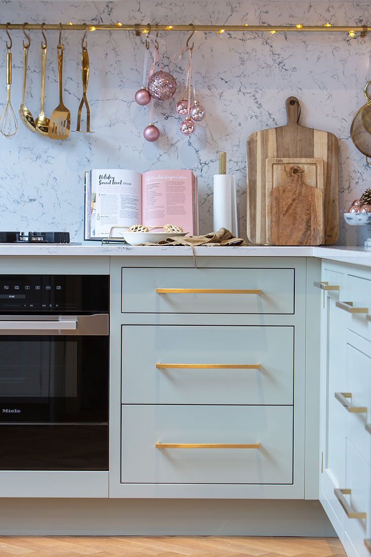 Christmas kitchen pale green with white marble