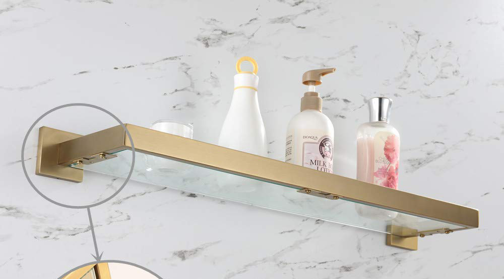 glass and brushed brass bathroom shelves
