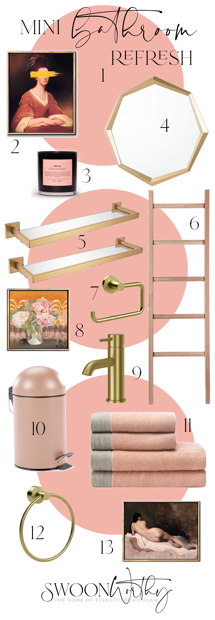 Mini Bathroom Refresh Mood Board in Peach and Gold